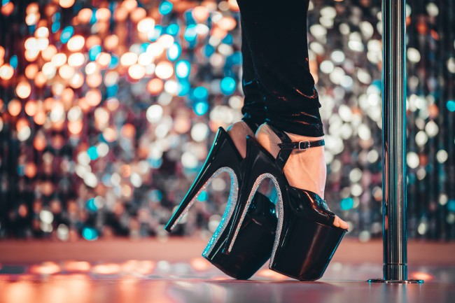 high heels on stage