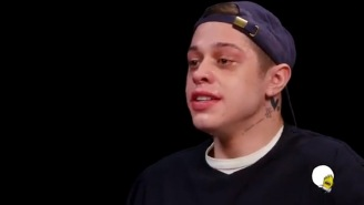 Pete Davidson Was Shaking And Tearing Up Discussing Ariana Grande And Weed While Taking The 'Hot Ones' Challenge