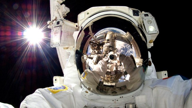 NASA Astronaut Five Bright Lights While On A Spacewalk