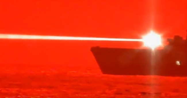 Watch Navy Ship USS Portland Obliterate A Drone Out Of The Sky With A Giant Frickin' Laser Beam