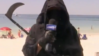 Grim Reaper Shows Up For An Interview During Live News Broadcast From Crowded Florida Beach