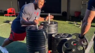 Watch James Harrison Prove He's Still A Beast By Pushing Around 1,960-Pound Sled Like He's Vacuuming