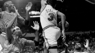 Did You Know Michael Jordan Was Clearly Airbrushed Out Of The Topps Card Of John Starks' Iconic Dunk?