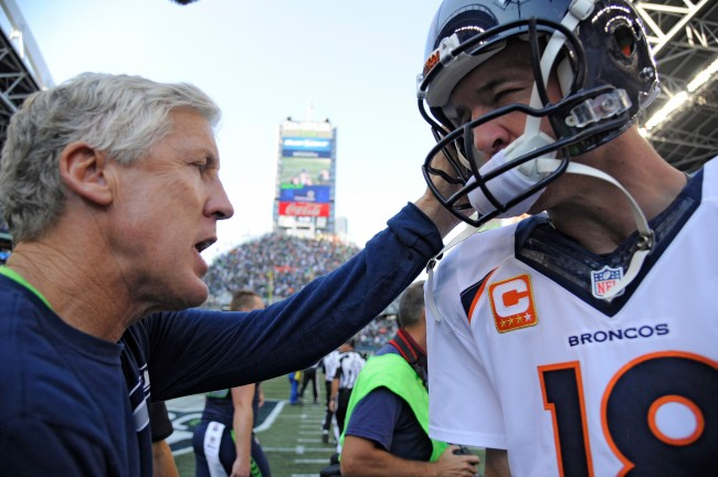 Seahawks head coach Pete Carroll got absolutely denied by Peyton Manning during an attempt to lure the 2012 free agent