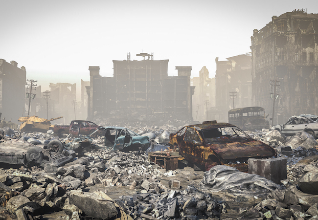 post Apocalypse, Ruins of a city. Apocalyptic landscape