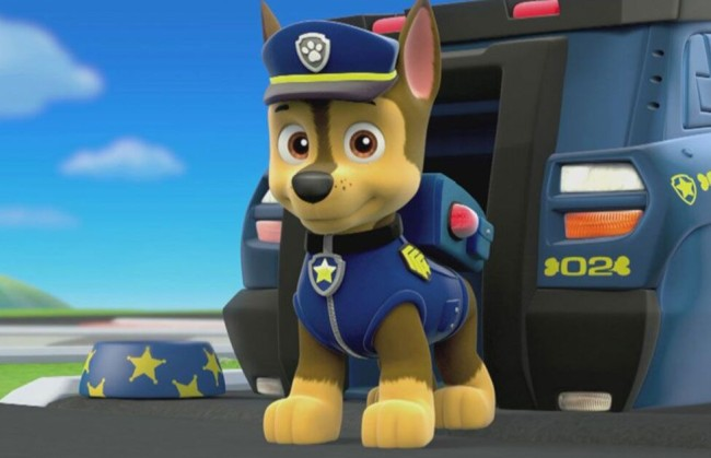 chase paw patrol police dog protesters