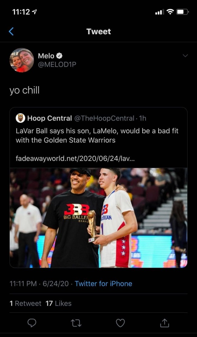 LaMelo Ball's Twitter reaction after hearing his dad, LaVar Ball, give his take about being drafted by the Warriors