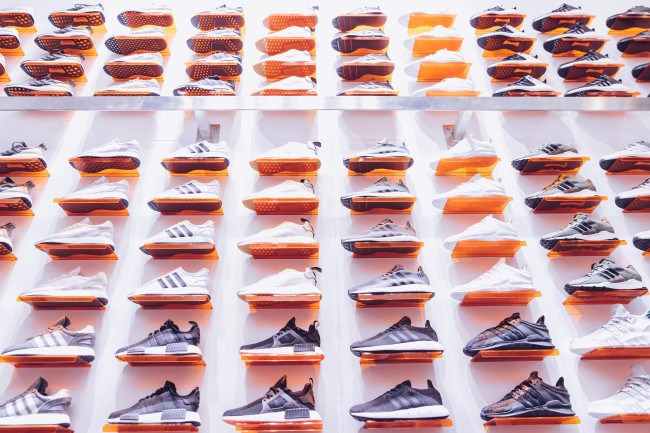 wall of sneakers