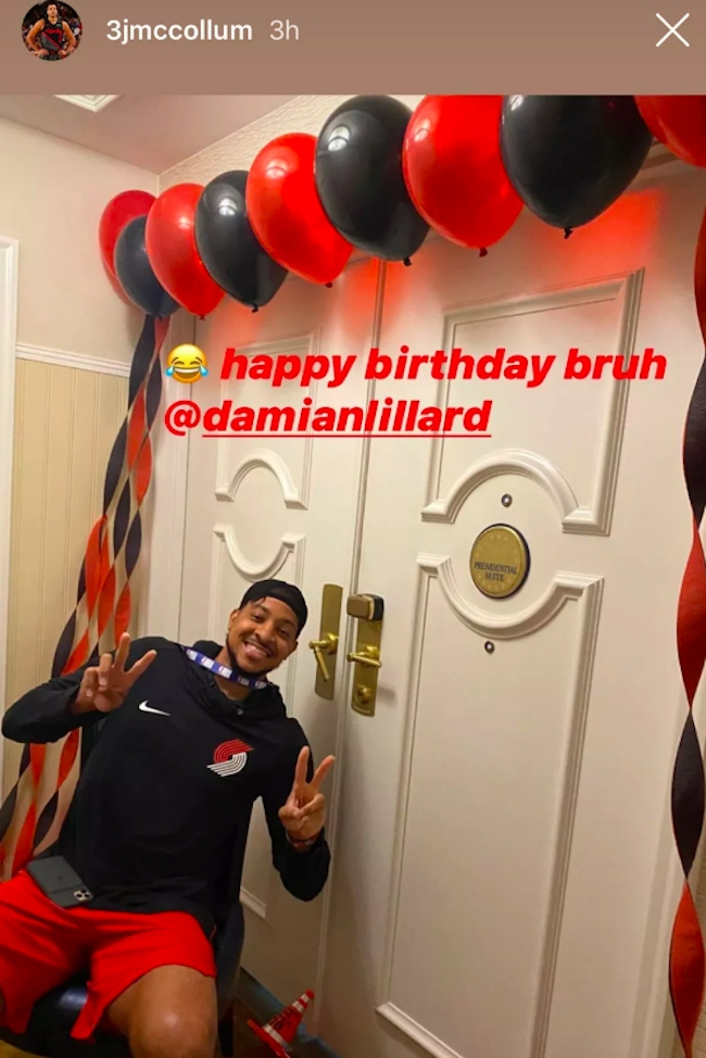 Damian Lillard presidential suite nba cover up