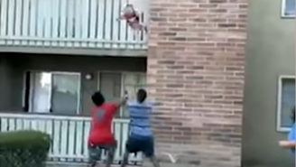 Watch This Former College Receiver Save A Toddler's Life After He's Tossed Off A Balcony During An Apartment Fire