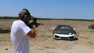 Guy Uses Various High-Powered Weapons To Test His Grandfather's Bulletproof Lamborghini