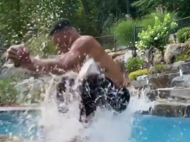 Saquon Barkley Pool Jump