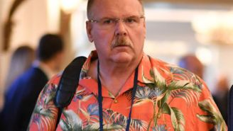 Hawaiian Shirt Connoisseur Andy Reid Broke Out His 'Best Tommy Bahama' To Celebrate The Chiefs Locking Up Patrick Mahomes