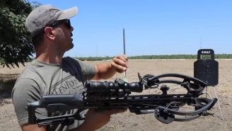 Dude Tests How A SWAT Shield Holds Up Against Arrows From A Crossbow