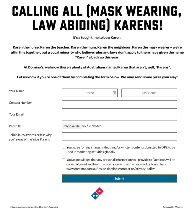 dominos cancels nice karens pizza promo