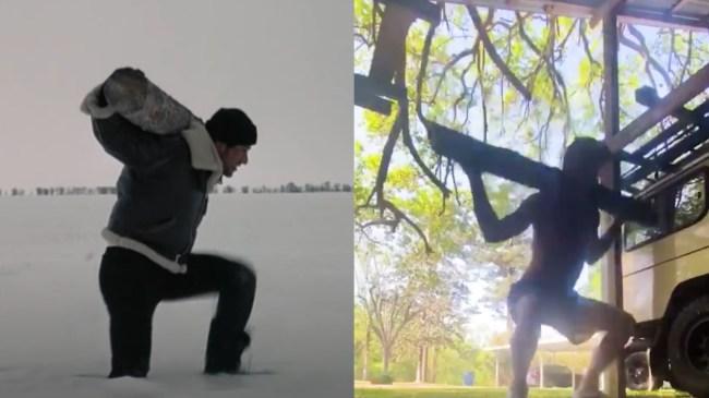 Myles Brennan Training With Trees