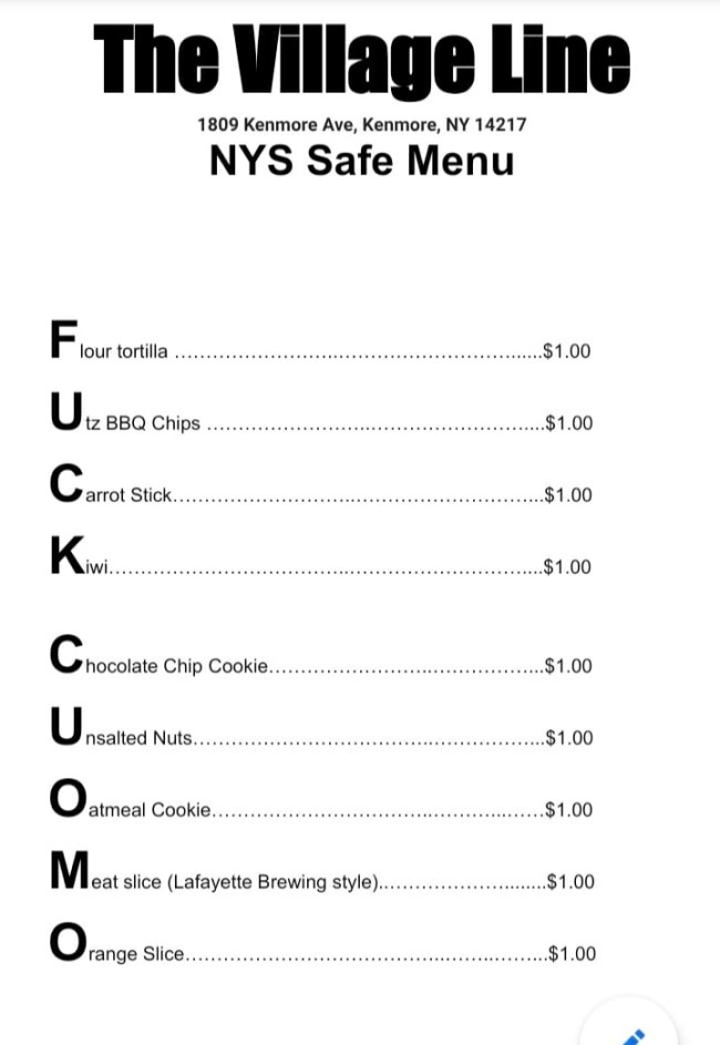 new york alcohol required food menus