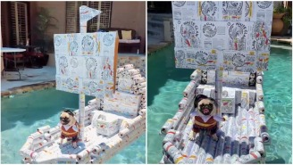 Bored YouTuber Uses His Empty Quarantine White Claw Cans To Build A Boat For His Dog