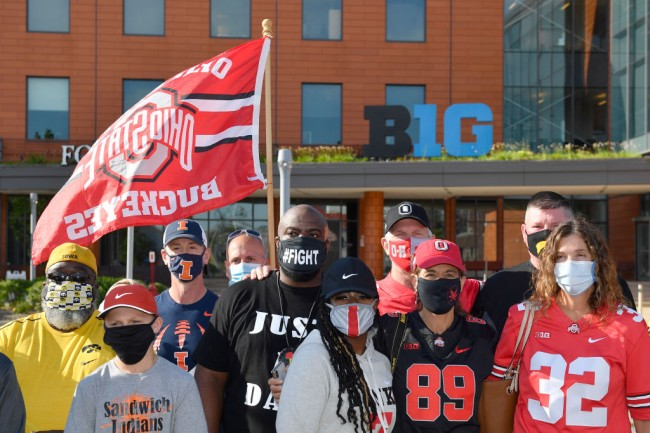 ohio state football parents protest on campus