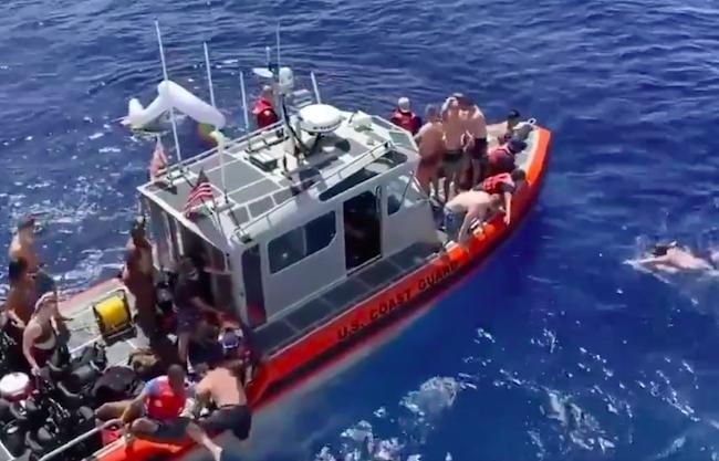 coast guard opens fire shark