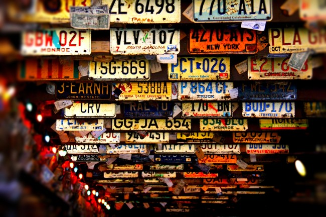 dive bar license plates on ceiling