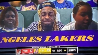 Lil Wayne Sneakily Smoked Weed While Being Featured As A Virtual Fan During Lakers-Blazers Game