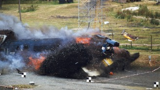 Footage And Photos Of A Train Crashing Into A Nuclear Fuel Container At 100 MPH Are Incredible
