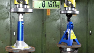 Using A Hydraulic Press To Determine How Strong Jack Stands Really Are Is A Fun Experiment