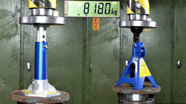 Using A Hydraulic Press To Determine How Strong Jack Stands Really Are