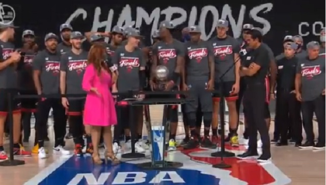 Things Get Awkward When Espn S Rachel Nichols Tried To Ask Heat Hc Erik Spoelstra About Facing Lebron James In The Finals While Team Was Still Celebrating Ecf Win Brobible