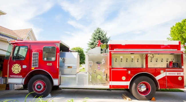 fire truck converted mobile beer bar