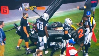 Scary Moment As Raiders' Johnathan Abram Runs Into TV Cart On The Sidelines And Laid Motionless On The Field For A Few Seconds