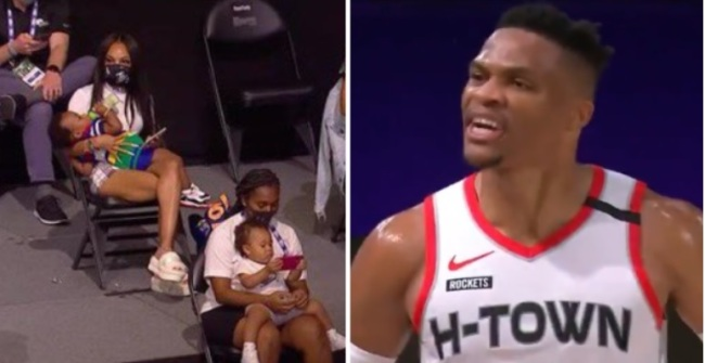 Russell Westbrook Cursing And Yelling 'F*** They Talking About' With Players' Wives And Babies In Attendance During Game 1 Vs Lakers Becomes A Meme