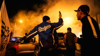 Car Hits Cyclist As Fires, Looting, Arrests Dot Dodgers Celebration In L.A. (Pics/Video)