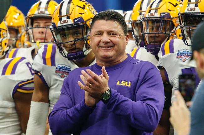 Photo Of LSU Head Coach Ed Orgeron In Bed With A Much Younger Woman Goes Viral And College Football Fans Were Impressed