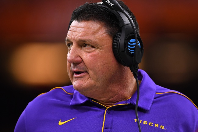 LSU coach Ed Orgeron mocked for showing off young girlfriend then losing big