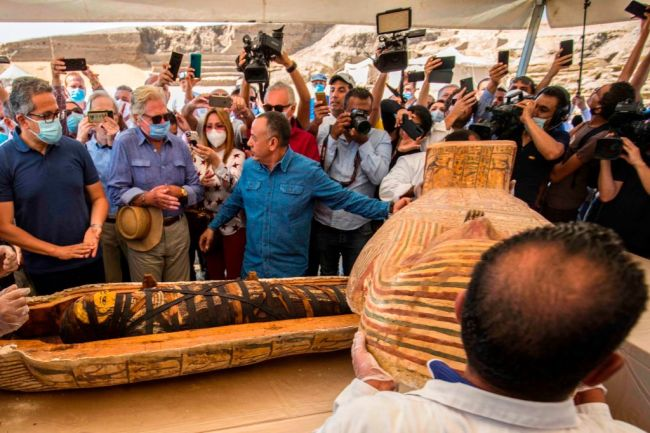 These sarcophagi were among 59 discovered at the burial site near Egypt's ancient Saqqara necropolis in Giza.