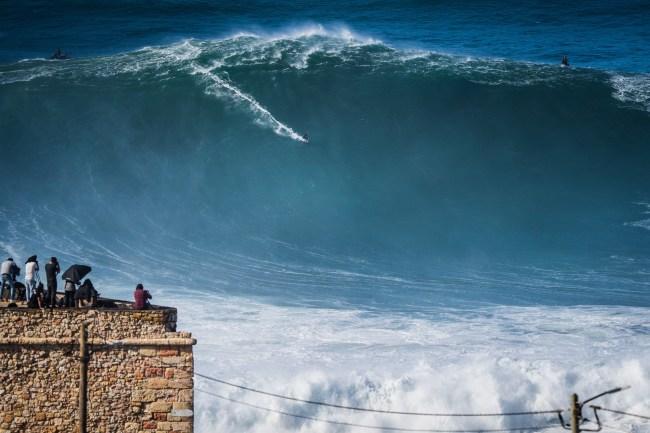 Nazare surfing Hurricane Epsilon