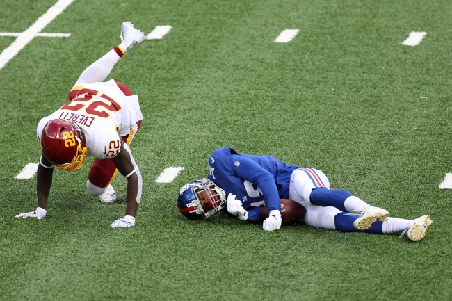 Giants WR C.J. Board Carted Off The Field After Appearing To Get Knocked Out Cold Following Scary Hit