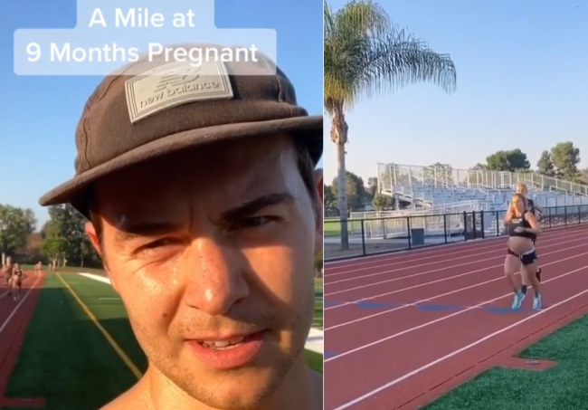 Man bets 9-month pregnant wife she can't run 8-min mile. She crushes that time.