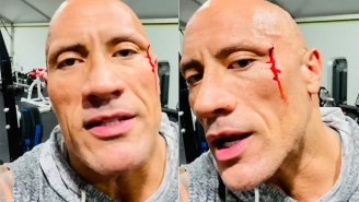 The Rock Accidentally Busts Face Open With A Chain During A Workout And Turns It Into Motivational Moment
