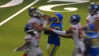 Rams' Aaron Donald And Giants' Nick Gates Get Heated And Throw Punches At Each Other During Scufffle