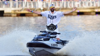 A Lightning Fan Got The Best Stanley Cup Tattoo Featuring Players Holding The Cup While Riding Jet Skis