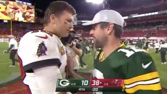 Tom Brady's Postgame Handshake With Aaron Rodgers Proves He's A Giant Sore Loser Who Snubbed Nick Foles