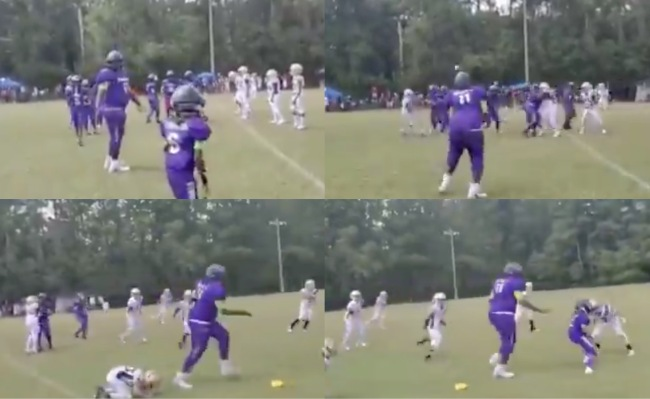 enormous youth football player