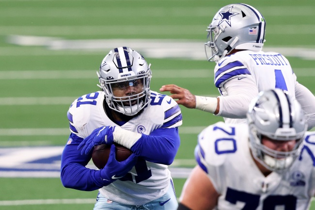 Given Ezekiel Elliott's fumbling issues, some fans have a theory that it's his long sleeves causing him to lose the ball