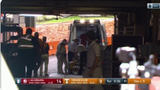 Alabama Star WR Jaylen Waddle Leaves Game In Ambulance After Suffering Brutal Ankle Injury During Opening Kickoff