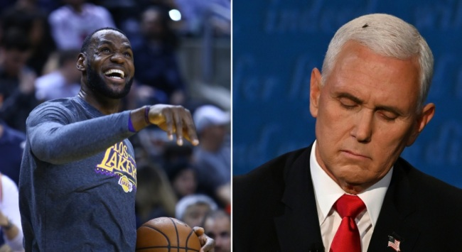 LeBron James fired off a hilarious joke about Mike Pence during the VP debate