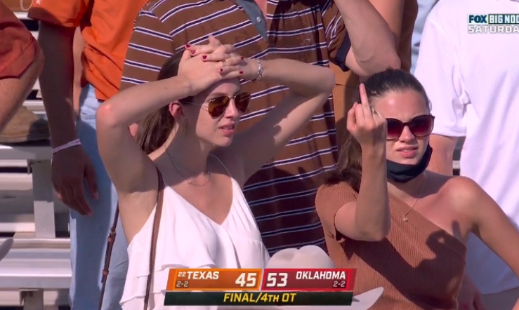 Salty Texas fan flipping off camera after loss to Oklahoma becomes instant meme