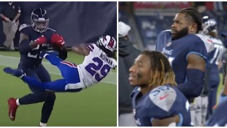 The Mic'd Up Reaction From The Titans Sideline After Derrick Henry's Monster Stiff Arm Is Explosive